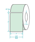 "4"" X 6"" Lt. Green Thermal Transfer Label, Perfed, 1000/Rl, 4/Cs"