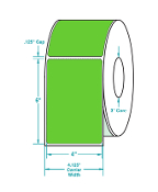 "4"" X 6"" Green Thermal Transfer Label, Perfed, 1000/Rl, 4 Rls/Cs"