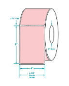 "4"" X 6"" Pink Thermal Transfer Label, Perfed, 1000/Rl, 4 Rls/Cs"