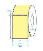 "4"" X 6"" Yellow Thermal Transfer Label, Perfed, 1000/Rl, 4 Rls/Cs"