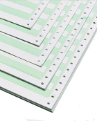 "14 7/8 x 8"" 15lb 1/2"" Green Bar Computer Paper, 3500 Shts/Cs"