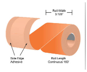 "3 1/8"" x 160' MaxStick Orange Thermal Side Edge Adhesive, 24'S"
