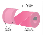 "3 1/8"" x 160' MaxStick Pink Thermal Side Edge Adhesive, 24'S"